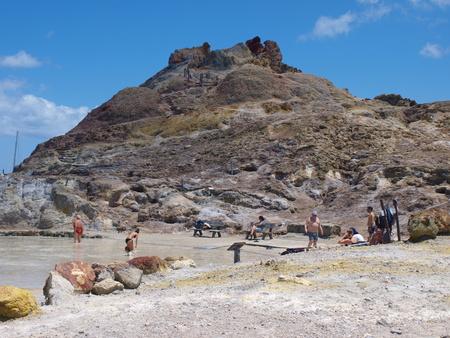 Mud baths at Volcano Island, Sicily, Italy Editorial