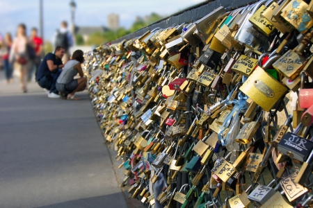 Bridg in Paris and fiance witch locks Stock Photo - 17269568