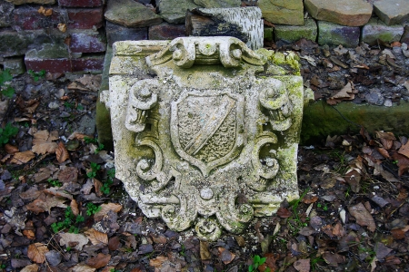 photo, jpg, ansient old heraldic symbol in forest falls Stock Photo - 17278051