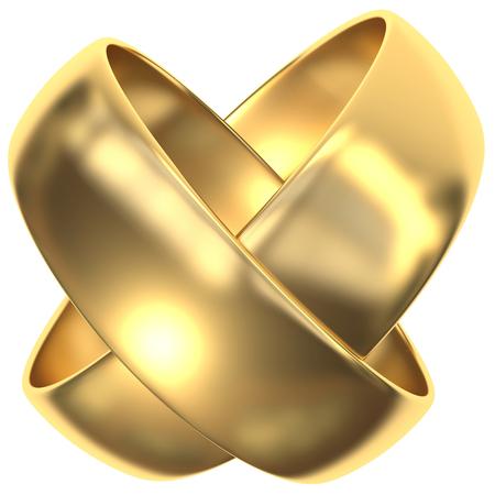 X-Woven Golden Rings Stockfoto