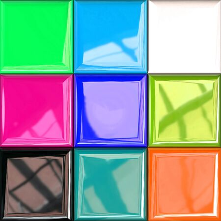 Colorful Design Palette with Photorealistic Reflections in Different Variations, 3d Rendering, 3d Illustration Stockfoto