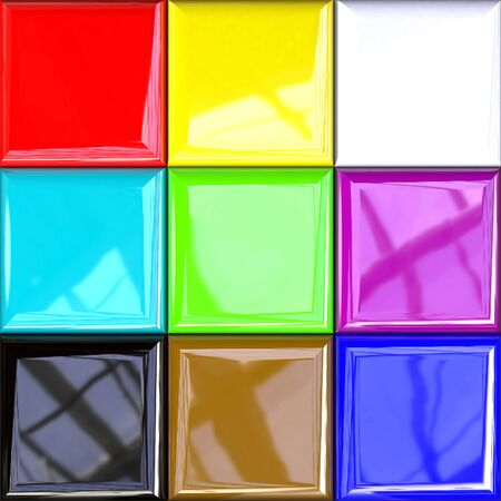 Colorful Design Palette with Photorealistic Reflections in Different Variations, 3d Rendering, 3d Illustration Stock Photo