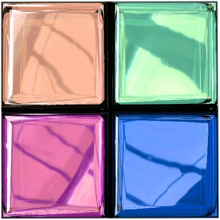 Colorful Glass Palette with Photorealistic Reflections in Different Variations, 3D Rendering