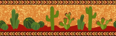 seamless mexican border with cactuses  vector illustration  illustration