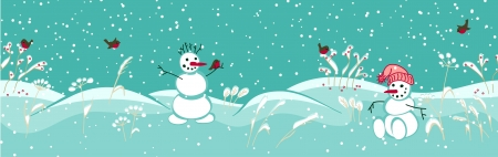 seamless winter border with snowmen  vector illustration  illustration