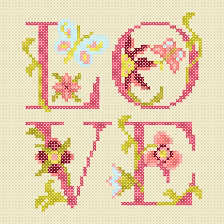 stitches: cross-stitching embroidery, love, vector illustration