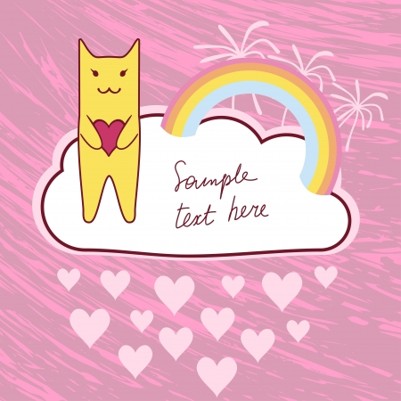 yellow cat with love heart and rainbow, vector illustration illustration