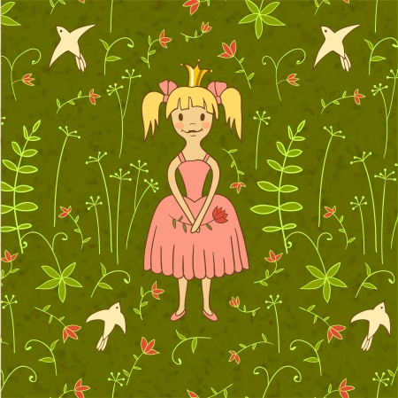 princess background with birds and flowers, illustration,   Vector