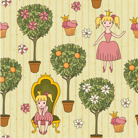 fairy garden: princess background with potted trees, illustration Illustration