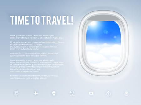 航空機舷窓、ベクトル図テンプレートをデザインします。  イラスト・ベクター素材