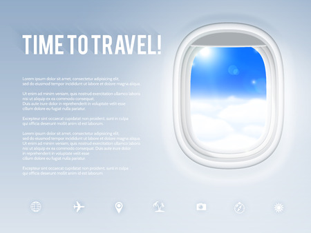 view from the plane: Design template with aircraft porthole, vector illustration. Illustration
