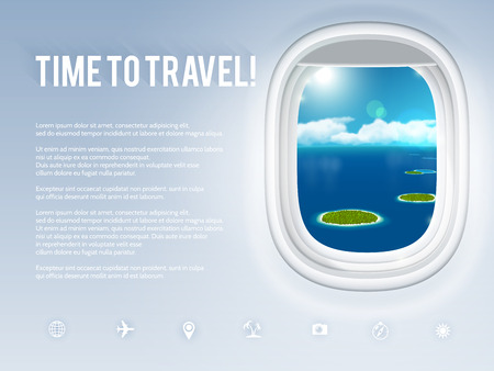 Design template with aircraft porthole, vector illustration. Иллюстрация