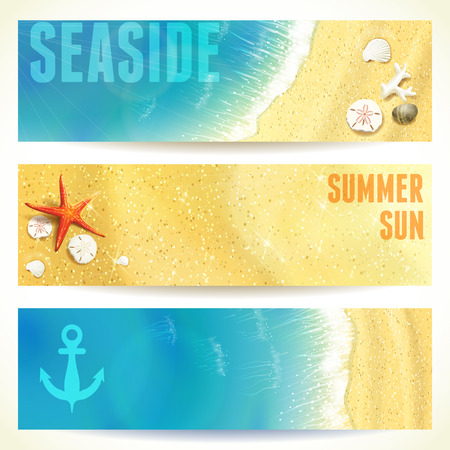 oceanside: Set of Horizontal Banners with Seaside and Starfish. Vector illustration, eps10, editable.