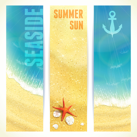 oceanside: Set of Vertical Banners with Seaside and Starfish. Vector illustration. Illustration