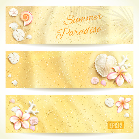 oceanside: Set of Horizontal Banners with Sand and Seashells. Vector illustration, eps10, editable.