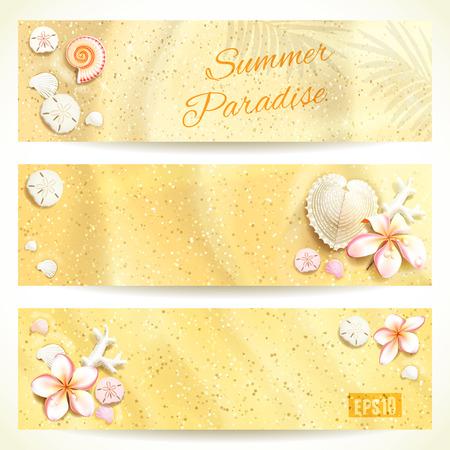 Set van horizontale banners met zand en schelpen. Vector illustratie, eps10, bewerkbaar.