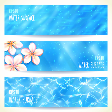 superficie: Conjunto de banners horizontales con la superficie del agua. Ilustración del vector.