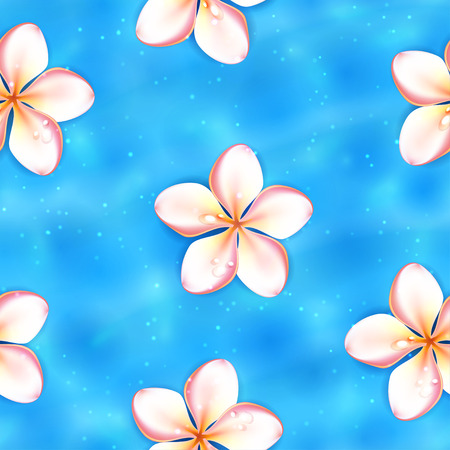 bitmap: Flowers on the Water Surface, Seamless Background. Raster version. Illustration