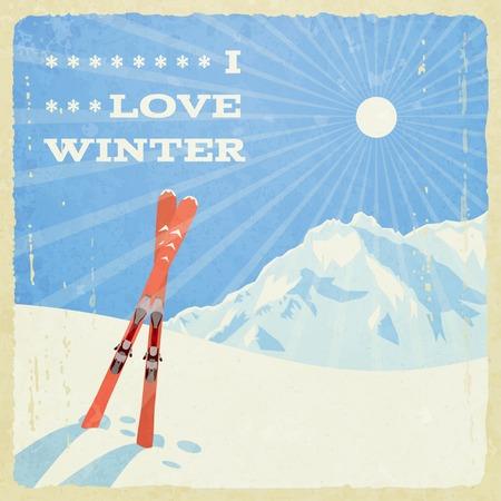 Retro Paysage d'hiver avec Skies. Banque d'images - 49454610