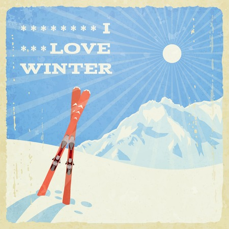 snow ski: Retro Winter Landscape with Skies.