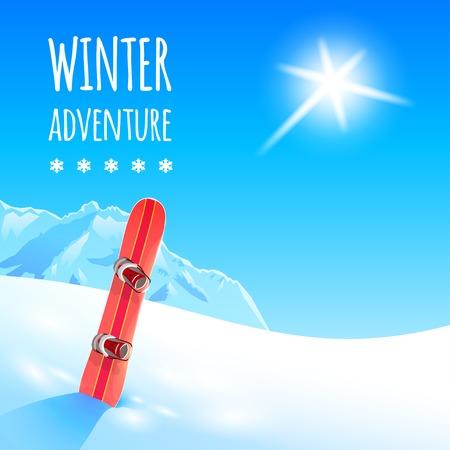 snowboard: Winter Landscape with Snowboard.