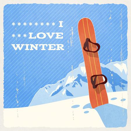 snowboard: Retro Winter Landscape with Snowboard.