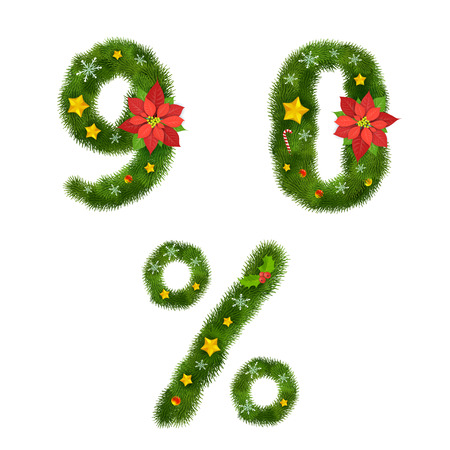 ornamented: Christmas ornamented tree numerals Illustration