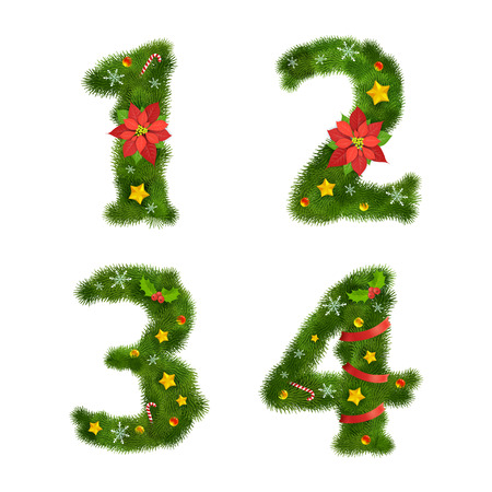 Christmas ornated tree numerals