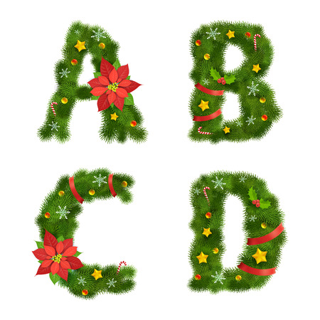 ornated: Christmas ornated tree alphabet