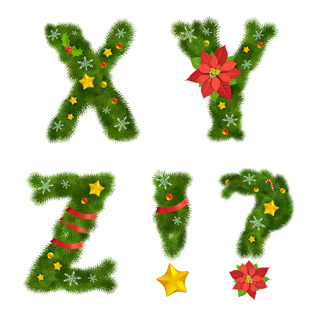 ornated: Christmas ornated tree alphabet