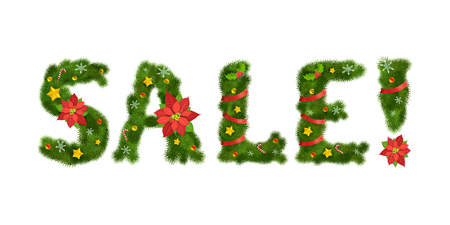 numerals: Christmas ornated tree numerals