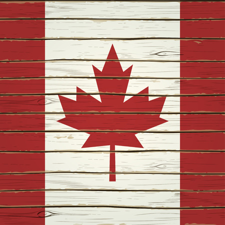 canadian flag: Canadian flag on wood texture.
