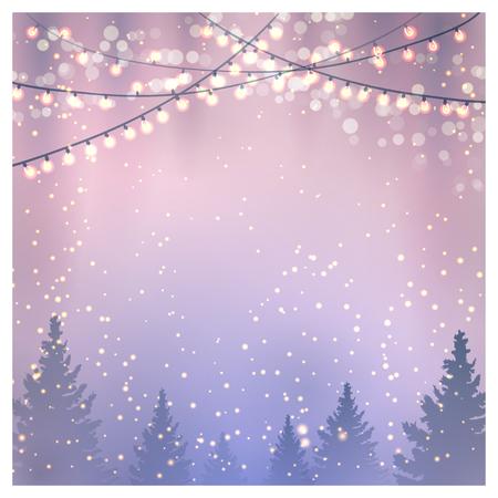 natale: Sfondo di Natale con abeti e luci di Natale.