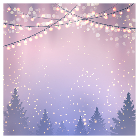 Christmas background with fir trees and christmas lights.