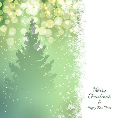 Kerst achtergrond met sparren en kerstverlichting