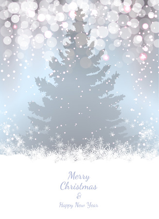 soft colors: Christmas background with fir trees and christmas lights