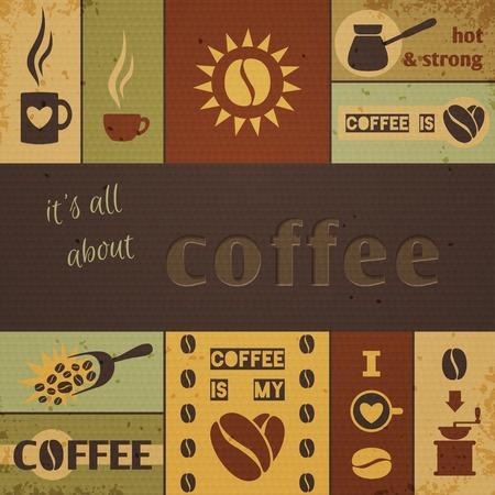 コーヒー デザイン セット。