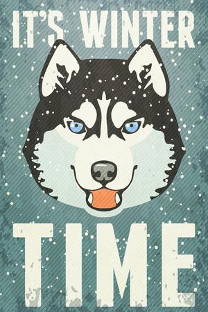 malamute: Winter retro Poster with Husky.  Illustration