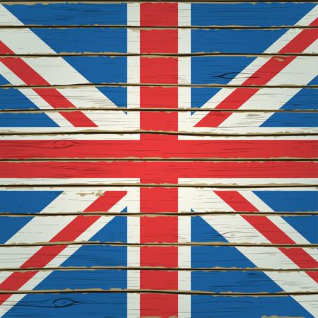 britain flag: Britain flag on wood texture.