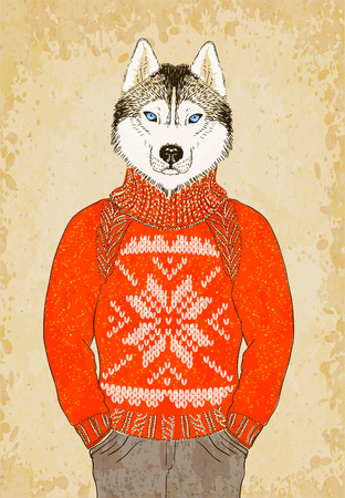 Dibujado mano del inconformista perro Husky viste de jacquard suéter.
