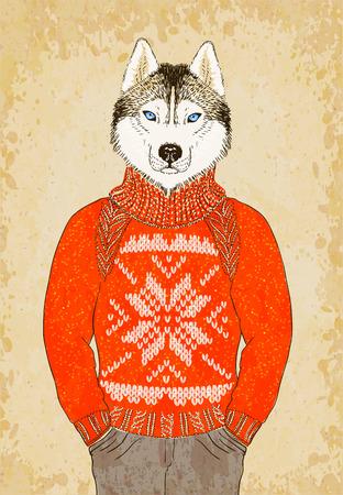 Hand Drawn Hipster Husky Dog Wears Jacquard Sweater.