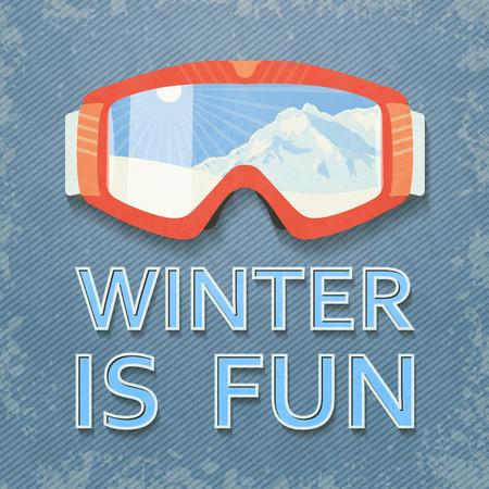ski: Winter poster with retro goggles.