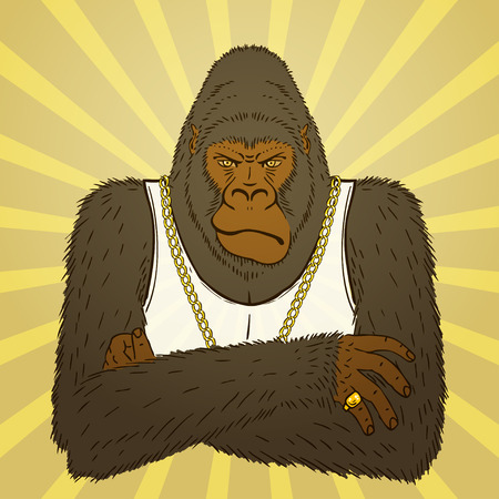 gangsta: Portrait of Hand Drawn Angry Gorilla.  Illustration