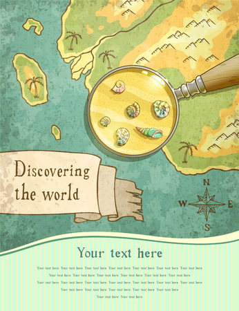 caribbean beach: magnifier showing beautiful nature on the old map, vector illustration, Illustration
