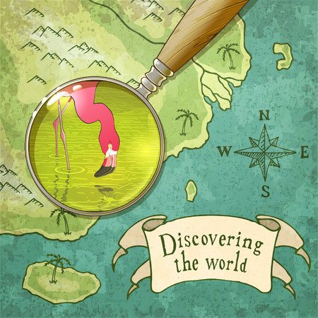 exotica: magnifier showing beautiful nature on the old map, vector illustration
