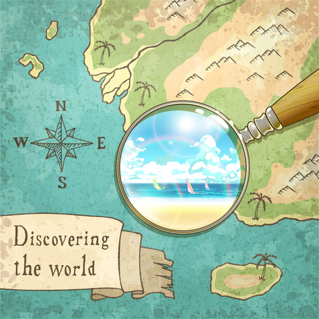 a wonderful world: magnifier showing beautiful nature on the old map, vector illustration,