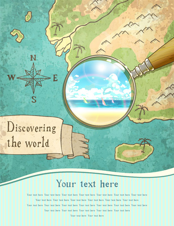 exotica: magnifier showing beautiful nature on the old map, vector illustration,