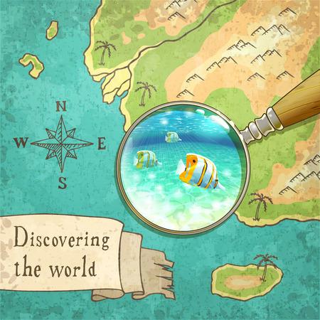 mapa mundi: lupa que muestra la hermosa naturaleza en el viejo mapa, ilustración vectorial, eps10