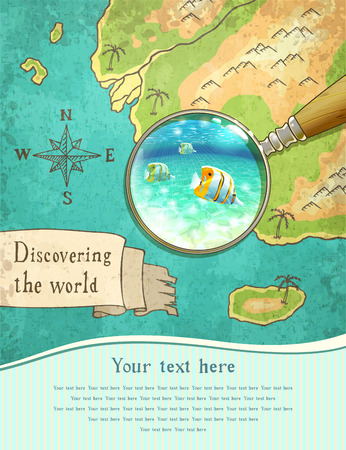 snorkelling: magnifier showing beautiful nature on the old map, vector illustration, Illustration