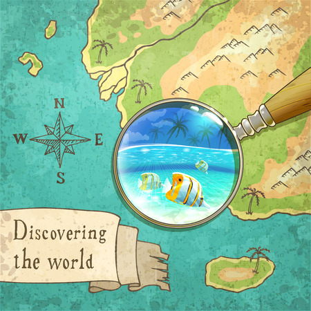 magnifier showing beautiful nature on the old map, vector illustration, Ilustração